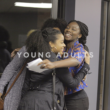 Church on the Rock Young Adults Ministry: young women hugging