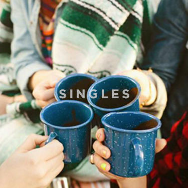 Church on the Rock Singles Ministry: four single friends drinking hot cocoa
