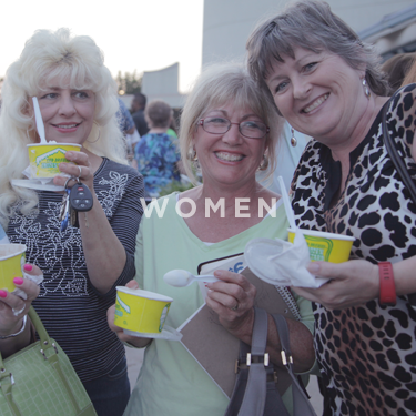 Church on the Rock Women's Ministry: women eating Ted Drewes frozen custard and laughing